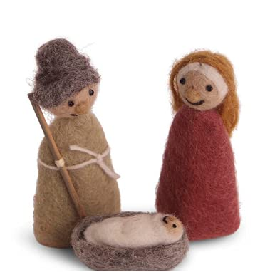 Én Gry & Sif Krippenspiel (Jesus Maria Josef), Krippenfiguren aus Natur-Filz, Hand-Made,...