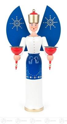 Engel mit blauen Flügeln für Kerzen d=14mm Breite x Höhe x Tiefe 15 cmx28,5 cmx10 cm NEU...