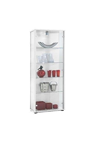 K-Möbel Glasvitrine in Weiss (176x67x33 cm) mit 4 höhenverstellbaren Glasböden aus ESG;...
