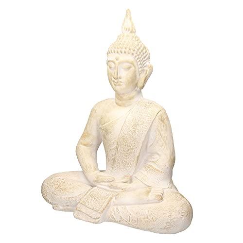 ECD Germany Buddha Figur sitzend, 64cm hoch, aus wetterfestem Polyresin, Beige-Grau, Feng Shui,...