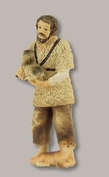 Unbekannt Krippenfiguren Hirte mit Schaf und Hund geeignet für 8cm Figuren
