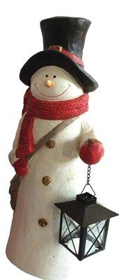 XL-Schneemann mit Laterne für Teelicht, für außen geeignet Höhe 44 cm NEU Dekofigur