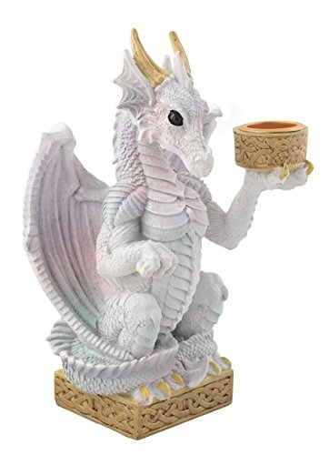 Figur Drache, Kerzenhalter weißer Drache, Regenbogendrache, Gothik 16cm