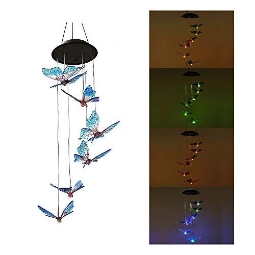 CBA BING LED Solar Schmetterling Windspiele, 7 Farbwechsel Wind Mobile Lampe,Gartenfigur Ornament
