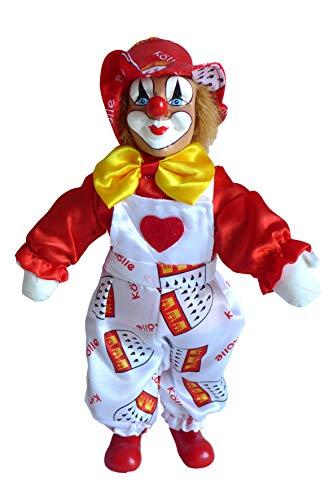 Unbekannt Schöner Köln Clown mit Latzhose weiß 33 cm Kölle Clownfigur rot weiß Karneval...