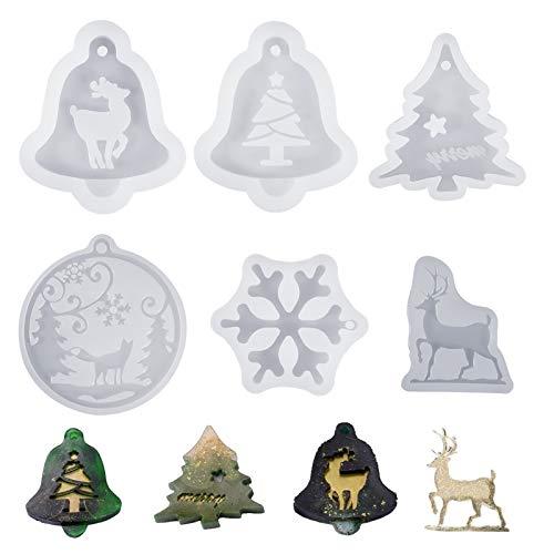 fanshiontide 6 Stück Weihnachten Resin Silikon Christbaum Schneeflocke Elch Harz Form Silikon...