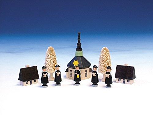 Weihnachtsfiguren Seiffener Kirche mit Kurrende, bunt - Kurrendesänger – Kurrendefiguren -...