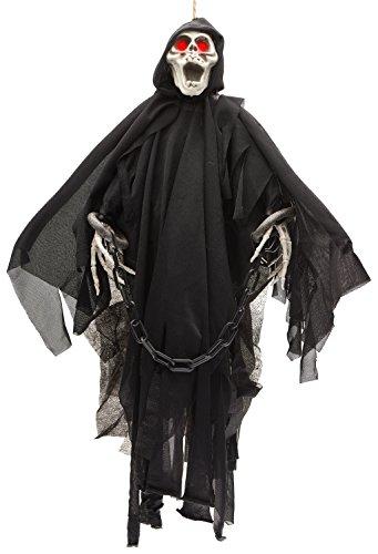 Prextex animierter Skelettgeist als Halloween Dekoration mit glühenden roten Augen, 51cm