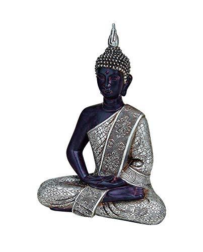 WOMA Deko Buddha Figur Sitzend mit Silbernen Verzierungen, Dekoration für Haus, Wohnung und Garten,...