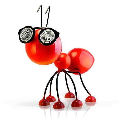 Smarty Gadgets Gartendeko Rote Ameise mit Solar LED Leuchten, Garten Geschenk, Tier Gartenfigur für...