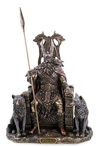 Veronese 708-7392 Odin Germanischer Göttervater auf Thron mit Wölfen Geri Freki Figur