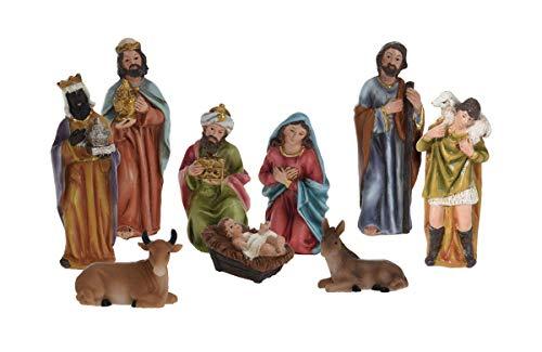 Weihnachtskrippe Figuren Set 9-teilig - Weihnachtsdekoration Krippenfiguren Krippenzubehör Krippe...