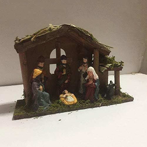 Exquisite 6-teilige Miniatur-Weihnachtskrippe in der Krippe Dekoration Figur Handarbeit mit...