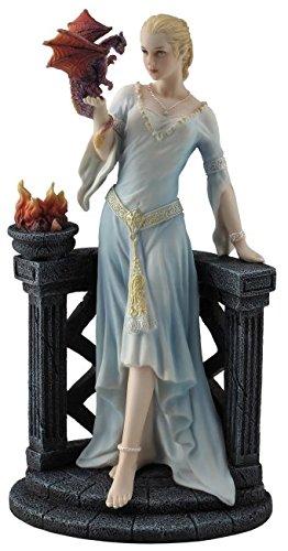 Drachenkönigin mit Drachenjungem auf der Hand Figur Frau Drache
