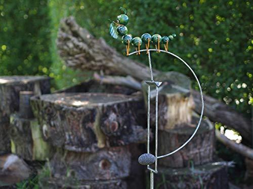 Thermobrass Windspiel Wippe aus Metall - Gartenfigur Gartendeko - Raupe Käfer - XXL 145x17x35cm -...