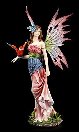 Farbenprächtige Dschungel Elfen Figur mit Papagei - Fee bunt Statue
