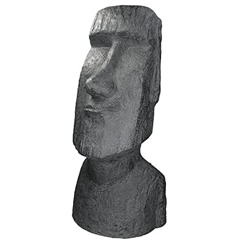 ECD Germany Moai Rapa Nui Kopf Figur 56cm hoch, aus wetterfestem Steinguss Kunstharz, Anthrazit,...