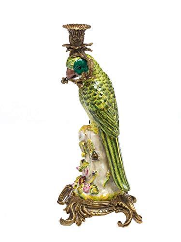 aubaho Papagei Kerzenständer Porzellan Antikstil Kerzenleuchter 37cm Candlestick Parrot