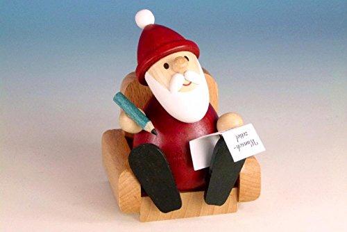 Weihnachtsfigur Weihnachtsmann im Sessel, modern, BxH: 6,5cm x 9,0cm NEU Holzfigur Weihnachtsdeko...
