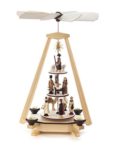 Pyramide modern, Christi Geburt und Krippe, 3-stöckig, für Kerzen, von DREGENO SEIFFEN 34 cm –...