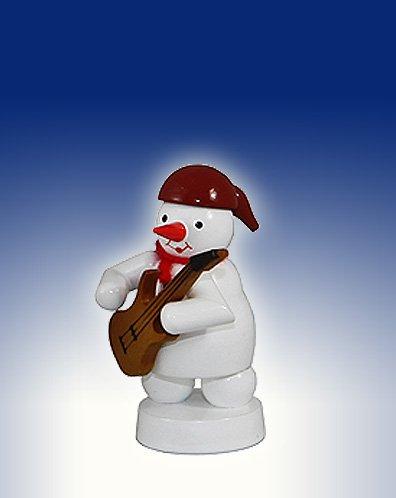 Schneemann Musikant mit E-Gitarre Höhe ca 8 cm NEU Weihnachtsfigur Tischfigur Holz Erzgebirge
