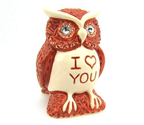 Eule, Eulen Figur, mit Motivgravur, I LOVE YOU, kleines Herz, handbemalt, in einer...