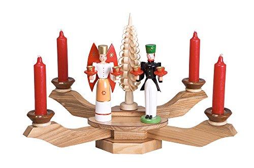 Kerzenhalter Tischleuchter natur mit Engel und Bergmann BxT = 38x38cm NEU Kerze Kerzenleuchter...