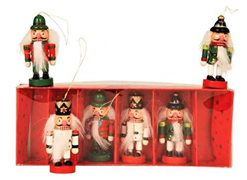Geschenkestadl 6 er Set Holz Anhänger Nussknacker Weihnachtsbaum Deko Holzanhänger Weihnachten