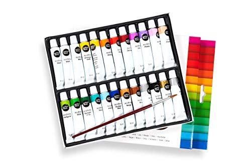 perfect ideaz 24 Tuben á 12 ml Acryl-Farbe-Set Bunt mit Pinsel, 22 Verschiedene Kreativ-Mal-Farben,...