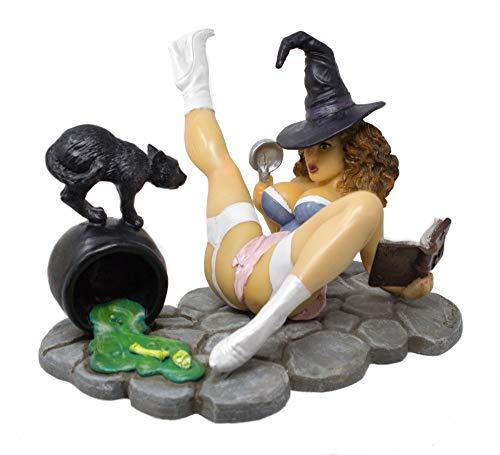 Simon Laurens I Put a Spell on You! Dekofigur Hexe mit schwarzer Katze und Kessel