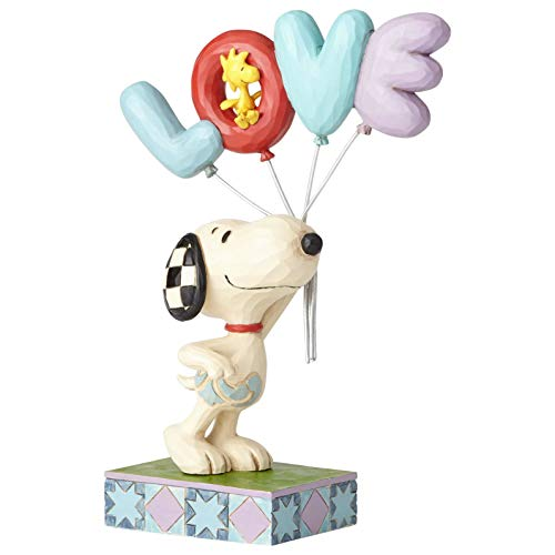 Enesco Jim Shore Peanuts Snoopy with Love Balloon Figur, Steinharz, Mehrfarbig, 7.5 Inch