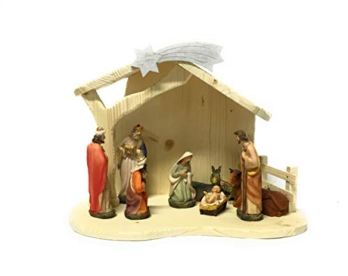 Weihnachtskrippe aus Kunstharz, 14 cm, mit Holzhütte und Lichtern.