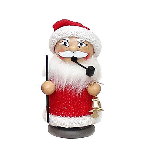 Holz Räuchermann Figur als Weihnachtsmann mit Glocke, ca. 13 cm
