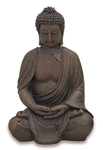 Deko-Buddha sitzend, ca. 40cm hoch in Braun | Buddha-Figur für Wohnung, Haus & Garten |...