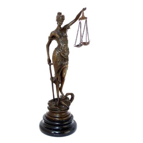 Kunst & Ambiente - Kleine römische Bronzefigur - Justitia - mit Schwert + Waage - Echte Bronze -...