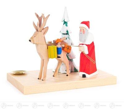Schnitzerei Weihnachtsmann mit Hirsch und Baum, geschnitzt, für Kerze d=14mm Breite x Höhe x Tiefe...