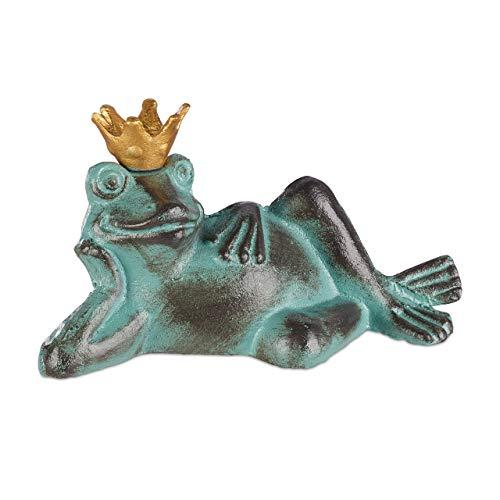 Relaxdays Gartenfigur Froschkönig, wetterfest, liegender Frosch, mit Krone, Dekofigur, Balkon,...