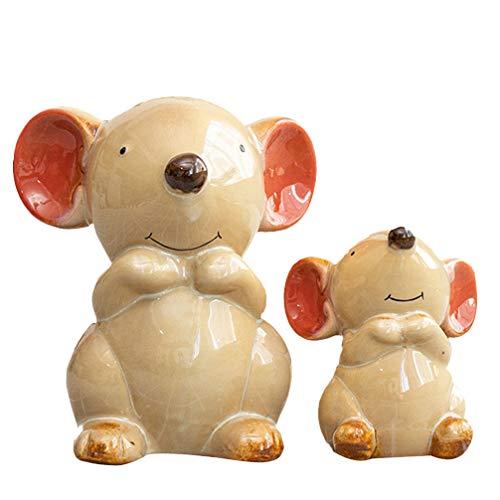 Yardwe 2 Stück Mäuse Garten Ornament Tiere Garten Statue Keramik Tisch Ornamen für Home Office...