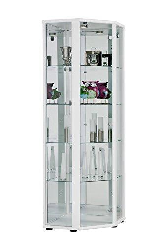 K-Möbel Eckvitrine (176x56,5x56,5 cm) in Weiss mit 4 Glasböden aus ESG, LED, Schloss und Spiegel;...