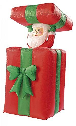infactory Weihnachtsmann: Selbstaufblasender XXL Santa im Geschenk, 150 cm, animiert (Weihnachtsmann...