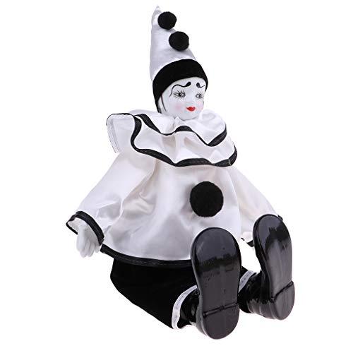 Fenteer Lustige Clown Mann Porzellan Puppe im Kleidung Spielzeug für Halloween Tisch Schreibtisch...