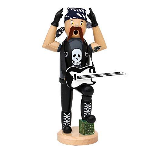 Sigro Heavy Metal Räuchermännchen Figur mit Gitarre und Kopftuch, 20cm, Holz, schwarz, 10x...