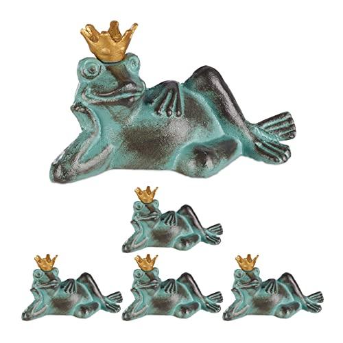 Relaxdays 5 x Gartenfigur Froschkönig, wetterfest, liegender Frosch, mit Krone, Dekofigur, Balkon,...
