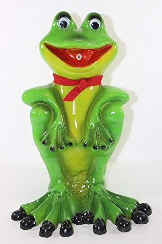 RAKSO Deko Garten Figur Gartenfigur Tierfigur Teichfigur Wasserspeier Frosch mit Schal sitzend aus...