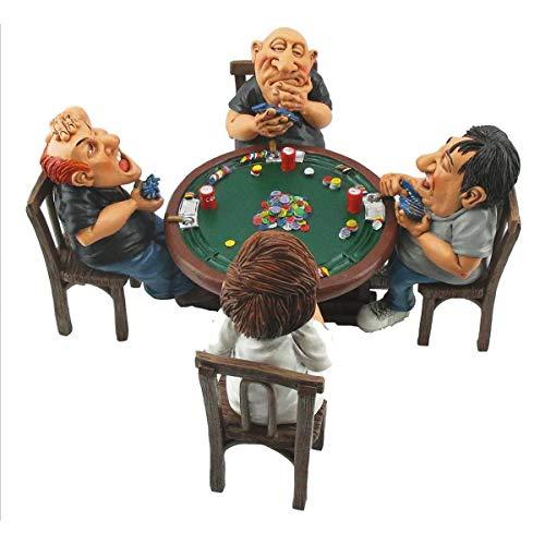 Funny Job - Pokerrunde vier Spieler sitzen am Pokertisch