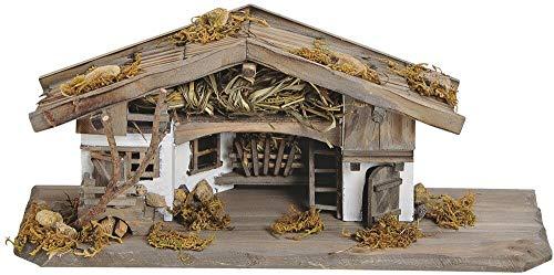 matches21 Krippe Weihnachtskrippe Stall Holz/Echtholz alpenländisch traditionell braun/weiß...
