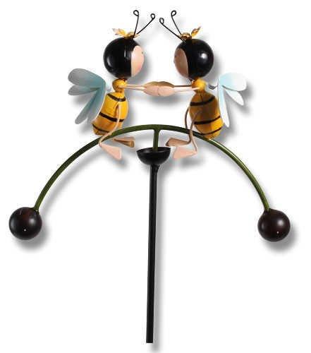 bb10 Schmuck Gartenfigur Windspiel Wippe mit Witzigen Bienenpaar aus Metall 99 cm groß Beetstecker...