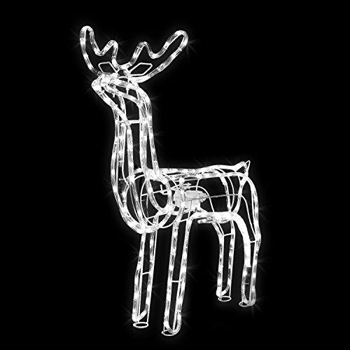 Pridea Weihnachtsdeko Figuren LED Rentier motorgesteuerter Kopf 216 LED 36 Funkel LEDs 70CM...