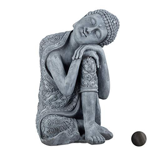 Relaxdays Buddha Figur geneigter Kopf, XL 60cm, Asia Deko, Gartenfigur, Dekofigur Wohnzimmer, frost-...