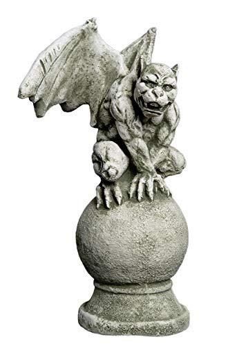 gartendekoparadies.de Sondermodell Gargoyle auf Kugel Torwächter aus Steinguss, frostfest